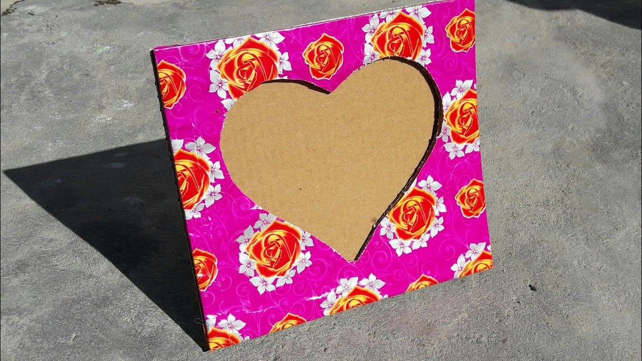 How to make heart shaped photo frame using cardboard at home how to make heart shaped photo frame using cardboard at home jeuxipadfo Image collections