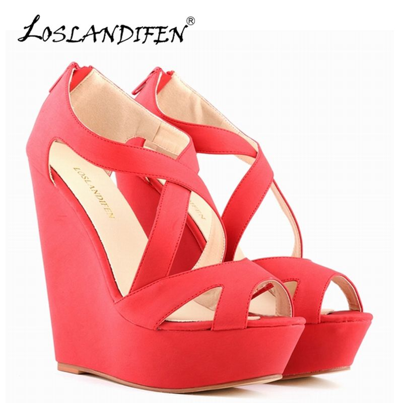 6865e4dfb9551 LOSLANDIFEN New Women's Wedges Dress Pumps Suede Platform High Heels ...