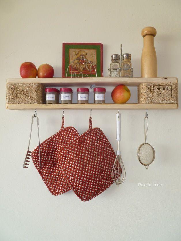 Kleines Wandregal Mit Haken Aus Euro Paletten / Kitchen Rack Made Of  Palettes, Home