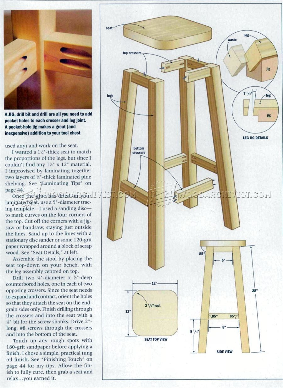 3 Kitchen Stool Plans - Furniture Plans  Taburetes de madera