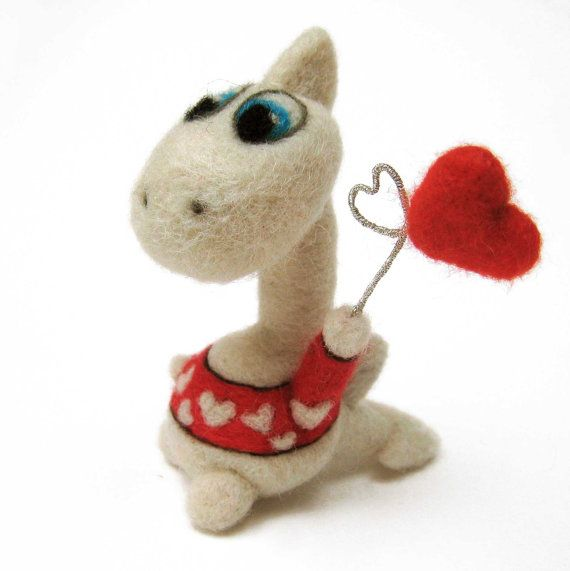 felted dragon - needle felted animal - Valentine's day dragon