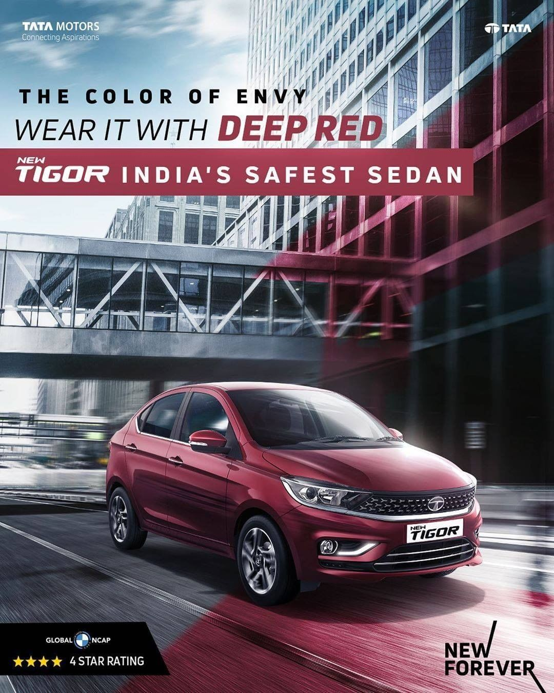 Just A Daily Dose Of Jealousy In Deep Red Drive Home India S Safest Sedan New Tigor Now At A Price Of The Hatchback Starts At In 2020 Sedan Tata Motors Hatchback