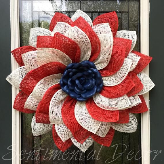 Photo of Items similar to patriotic flower wreath, red and white and blue sunflower wreath, July 4th wreath, memorial day decor, burlap flower wreath, poly burlap flower on Etsy