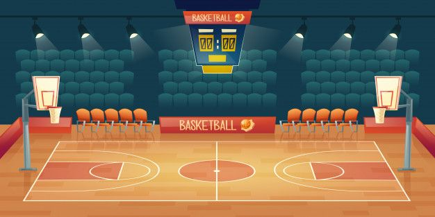Download Cartoon Background Of Empty Basketball Court Interior Of Sports Arena With Spotlights For Free Cartoon Background Sports Arena Basketball