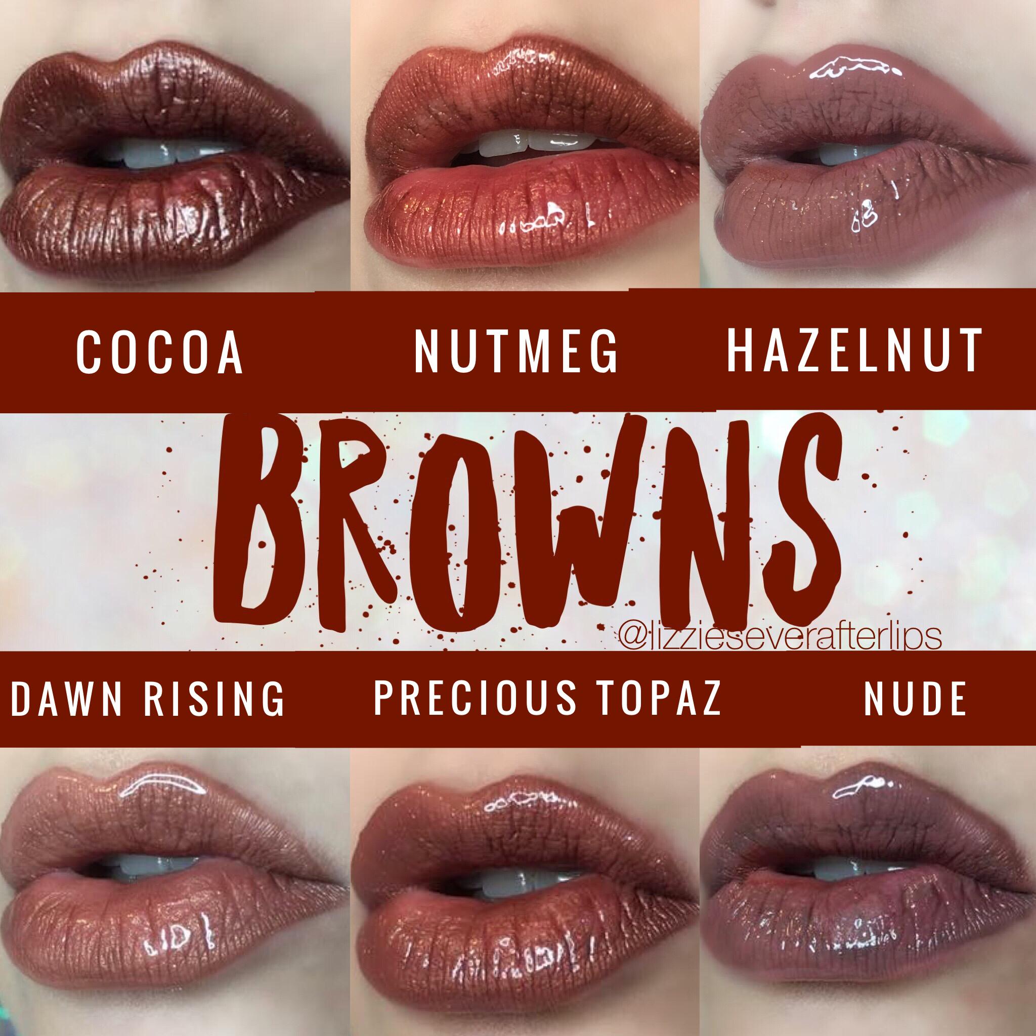 Brown Lipsense Chart Nutmeg Cocoa Hazelnut Dawn Rising Precious Topaz