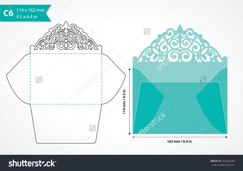 Die cut envelope template. Laser cut vector envelope for wedding ...