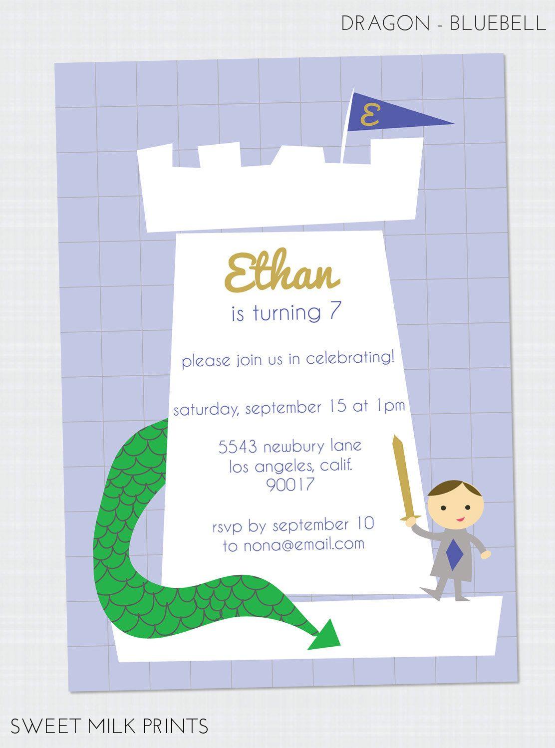 Printable Knight Dragon Children\'s Birthday Invitation. $13.00, via ...
