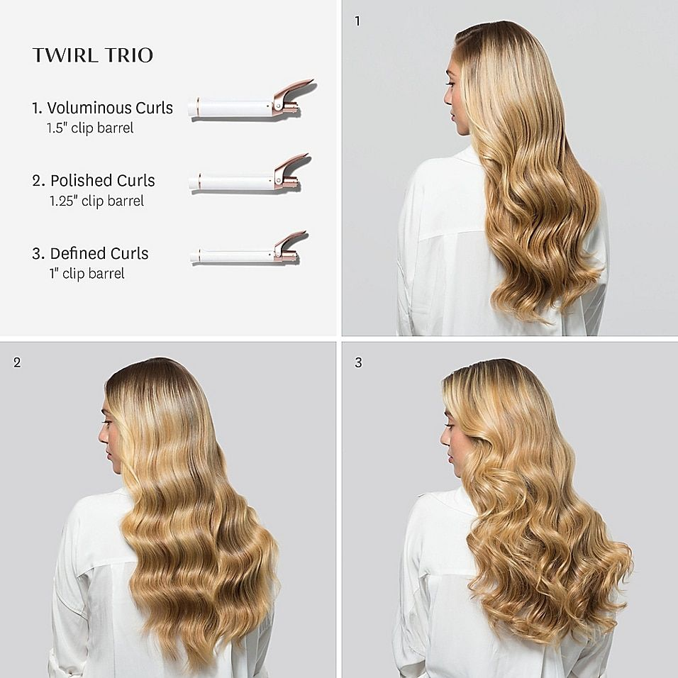 T3 Twirl Interchangeable Trio Curling Iron Set With 1 Inch 1 25 Inch And 1 5 Inch Barrels Bed Bath Beyond Curling Iron Hairstyles Curls For Long Hair Barrel Curls