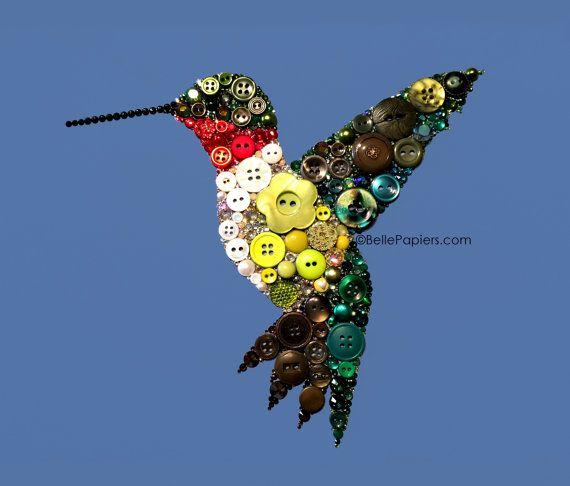 Beautiful Hummingbird Wall Art! Button and Swarovski Crystals Hummingbird Ruby by BellePapiers