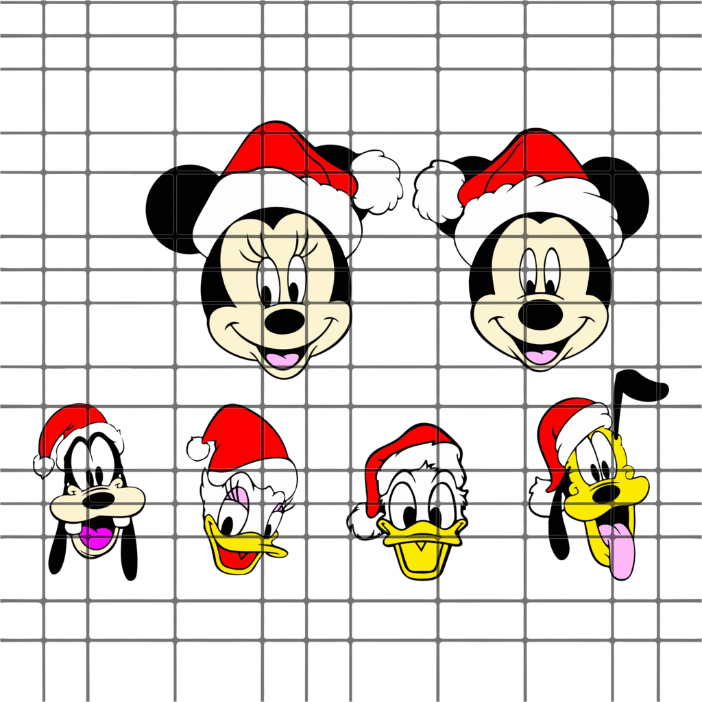 Christmas disney characters bundle SVG, DXF, EPS, PNG
