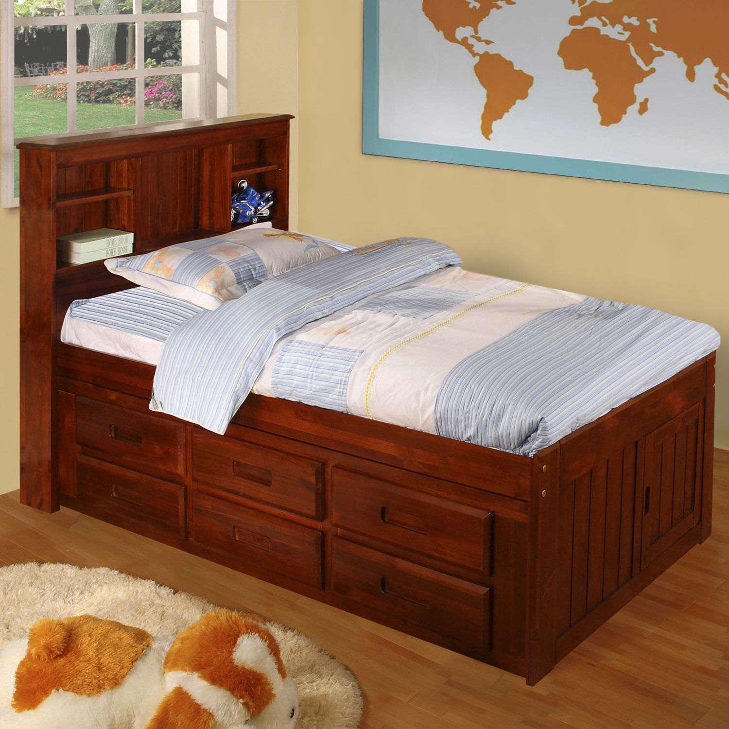 Merlot Solid Pine Twinsized Captain's Bed with 12 drawers