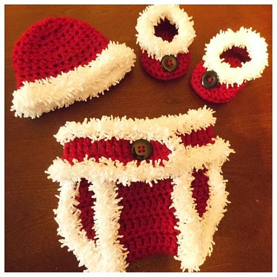 Santa Baby Hat Diaper Cover and Boots Booties Set 0-3 Months FREE Shipping a4ae6a2b33aa