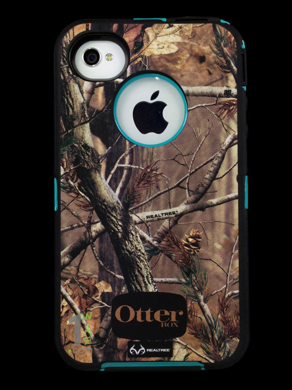 newest f5c49 00cdb Custom Otterbox Defender Series Case for iPhone 4S AP Camo/Teal on ...