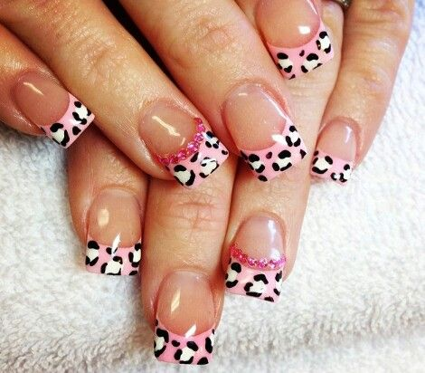 Cheetah Print French Tip Nails French Tip Nail Designs French