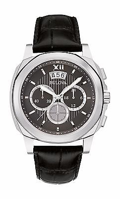 485e114d03bb Bulova Men s 96B218 Chronograph Quartz Stainless Steel Black Leather Watch