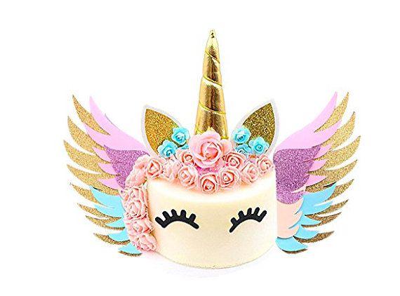Unicorn Cake Topper Set Gold Unicorn Birthday Unicorn Horn Ears Eyelash Unicorn Party Decoration Baby Shower Birthday Party