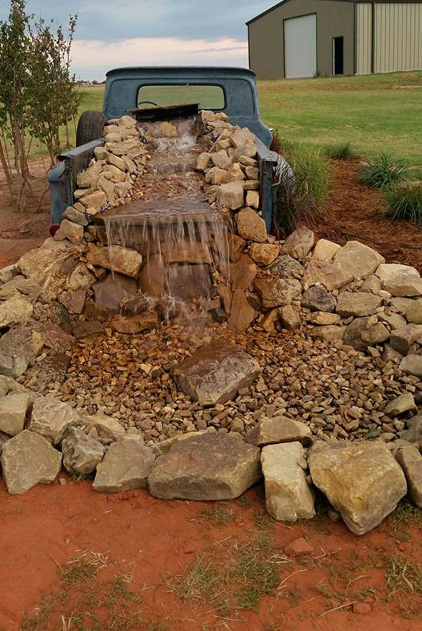 Truck bed waterfall Country house decor, Yard decor