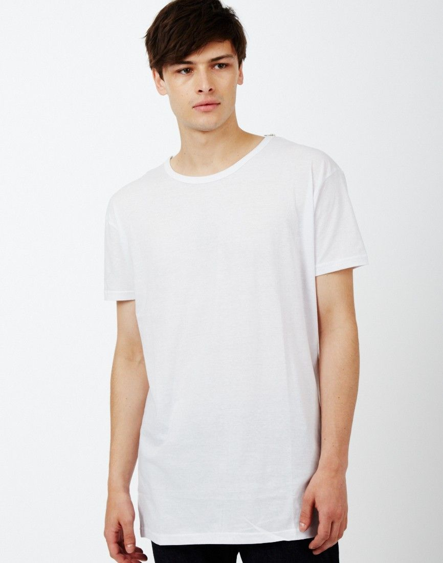 The Idle Man Long Line Short Sleeve T-Shirt White | Shop men's clothing at The Idle Man