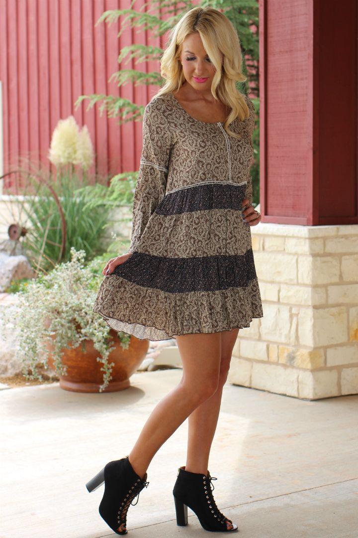 One Faith Boutique - Shake It Off Ruffled Dress ~ Mocha ~ Sizes 4-10, $37.00…
