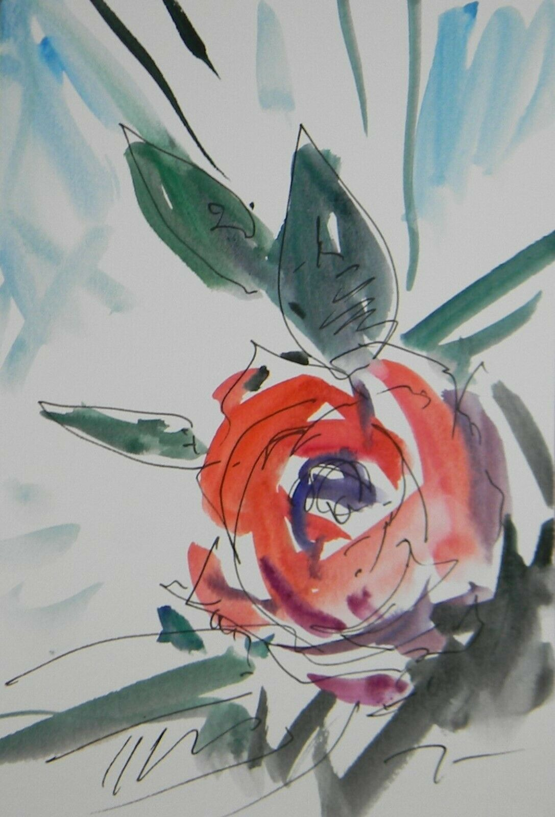 JOSE TRUJILLO ORIGINAL Watercolor Painting Expressionism 6X9 Colorful Flower Art