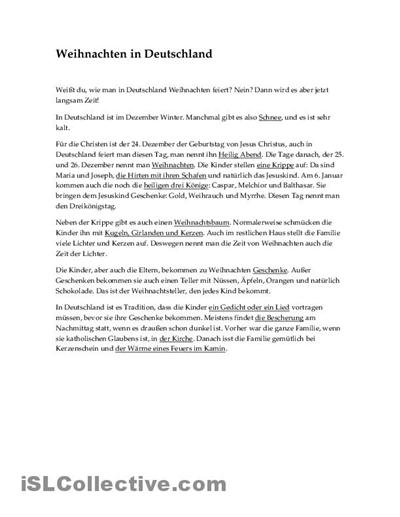 Weihnachten in Deutschland - Text Arbeitsblatt - Kostenlose DAF ...