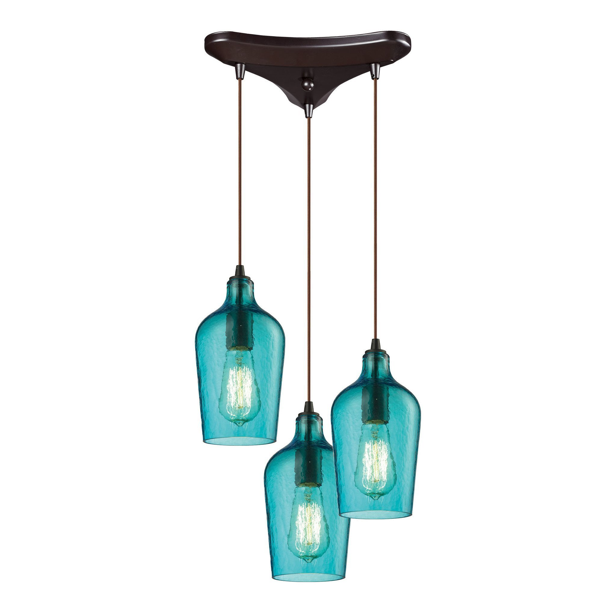 ELK Lighting 10331/3HAQ Hammered Glass Collection Oil Rubbed Bronze ...