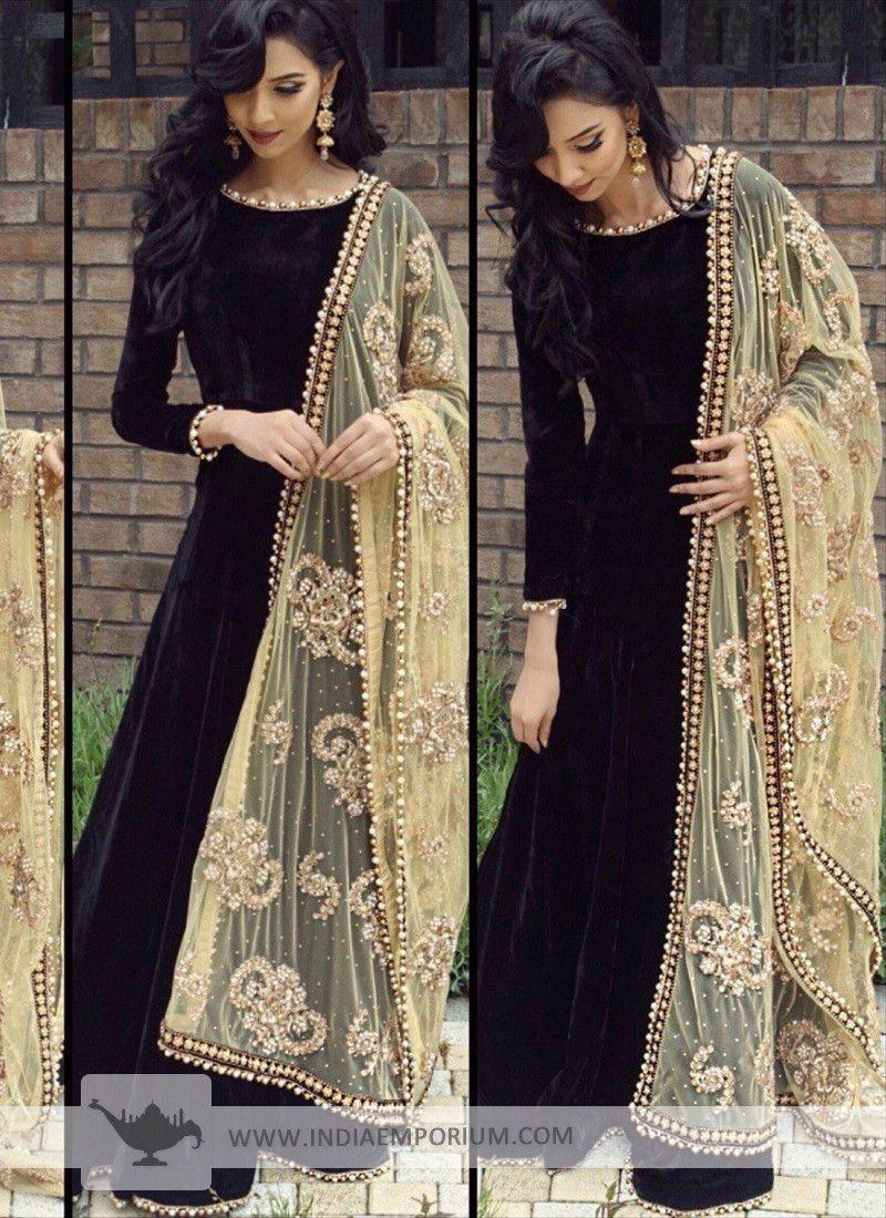 73f4ecd88590 Stylish Beads Work Black Velvet Long Anarkali Suit with Net Dupatta ...
