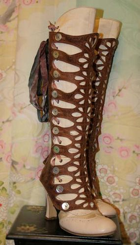 5030aeec7fdfe Distressed waxed brown leather, cut out pattern, 40 mother of pearl buttons  and back lacing gaiters. By lesfrivolites, via Flickr