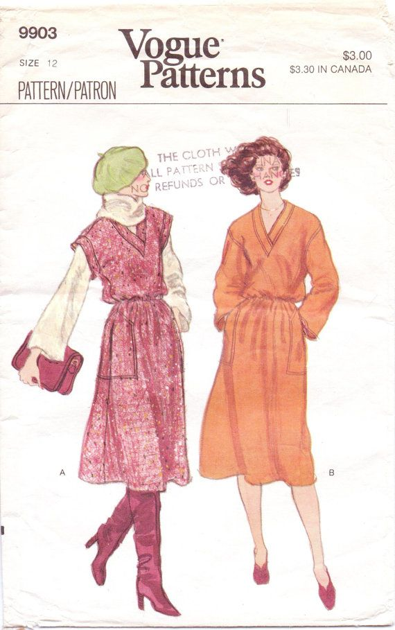 80s Vogue Pattern 9903 Womens Blouson Jumper and by CloesCloset ...