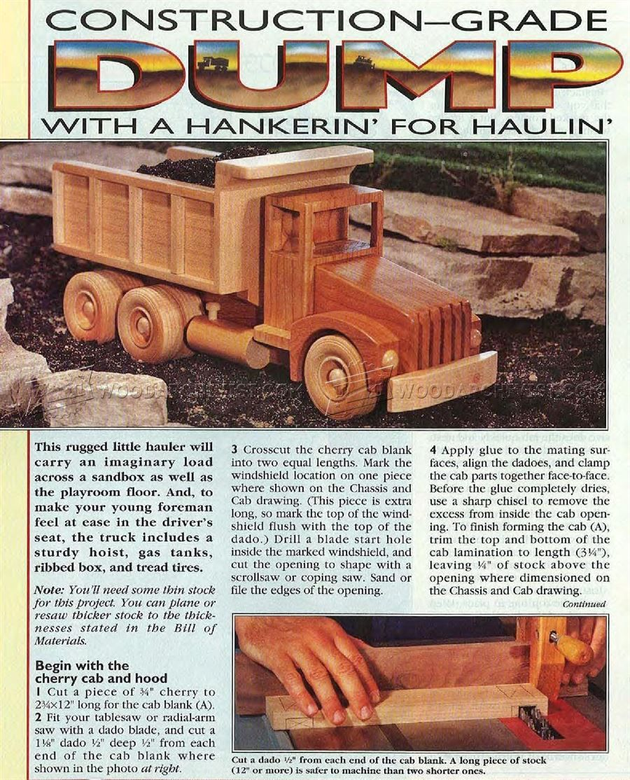 1064 wooden truck plans - children's wooden toy plans and