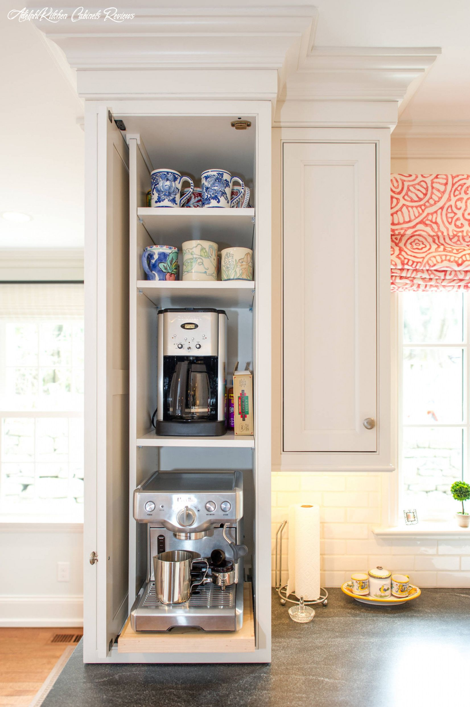 Adelphi Kitchen Cabinets Reviews In 2020 Appliance Garage Coffee Station Home Coffee Stations