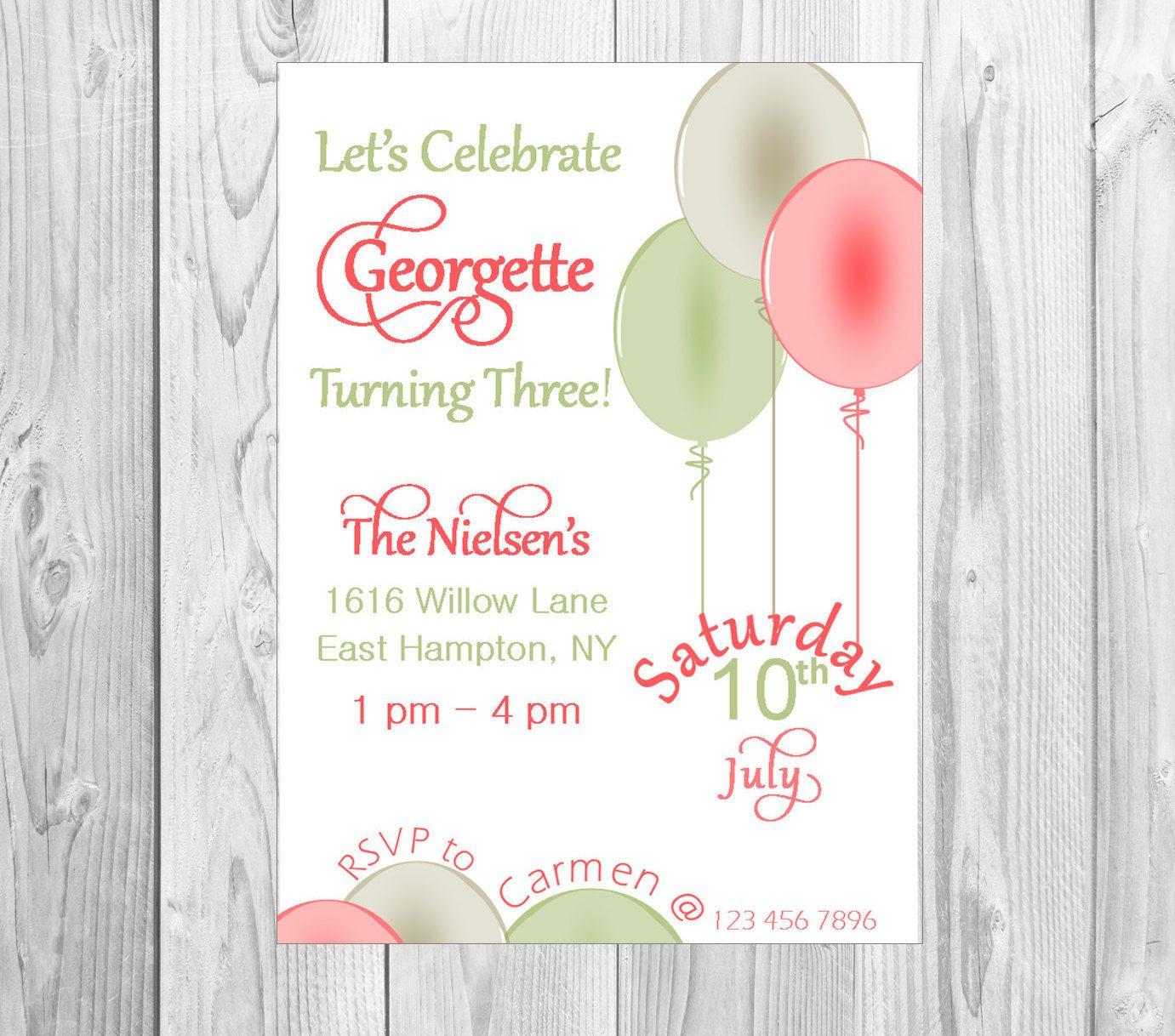Vintage Balloon Invitation, Balloon birthday decor, Pastel balloons ...