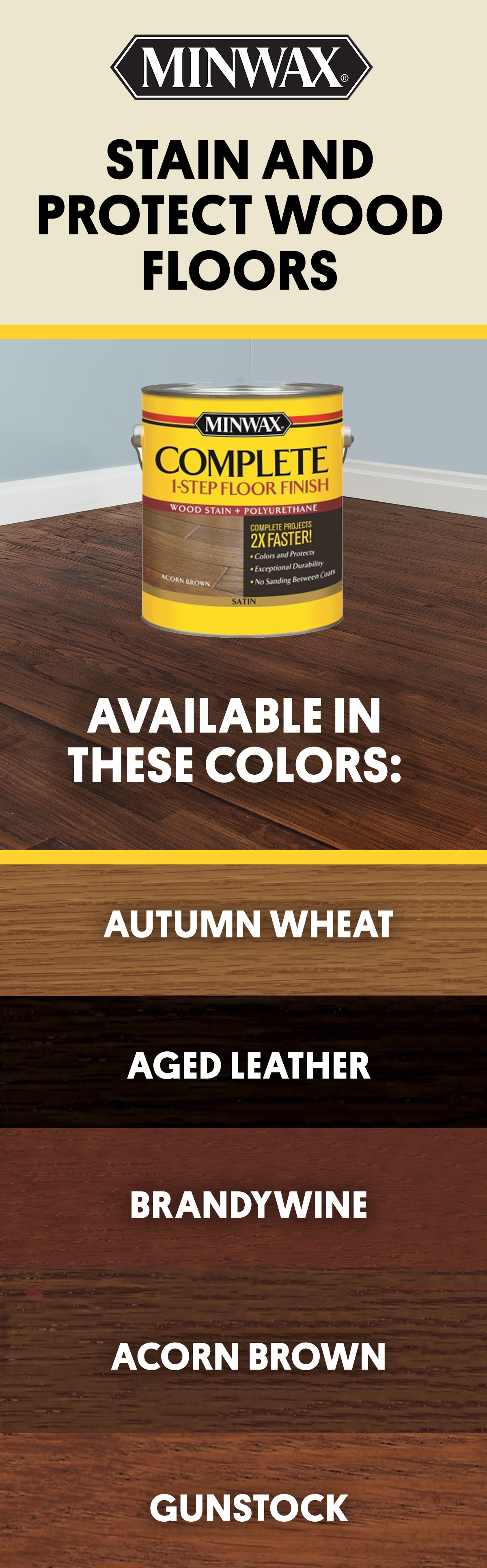 Use Minwax Complete 1 Step Floor Finish To Stain And Protect Your Wood Floors In One Easy Step It Comes Diy Wood Floors Refinish Wood Floors Floor Finishes