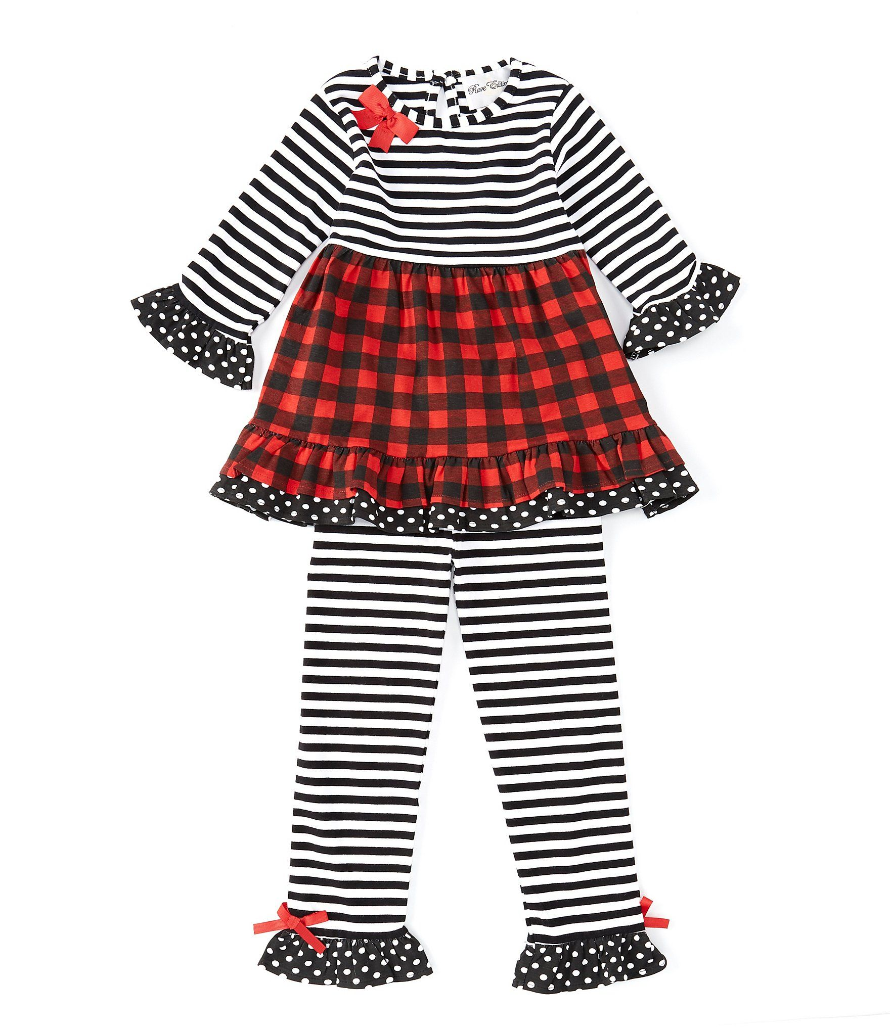 Rare Editions Little Girls 2T-6X StripedBuffalo-Check Fit-And-Flare Dress  Striped Leggings Set - Black 2T #stripedleggings