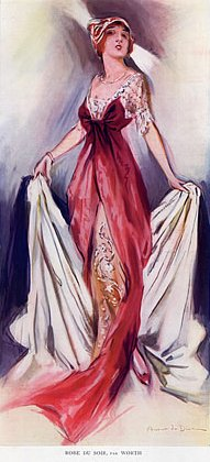 Fashion Illustration - 1912 - by Aubert de Dinan - Worth Evening Gown - @Mlle