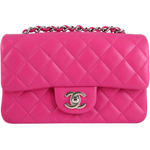 Pre Owned Chanel Hot Pink Fuchsia Lambskin Mini Flap Crossbody Found On Polyvore