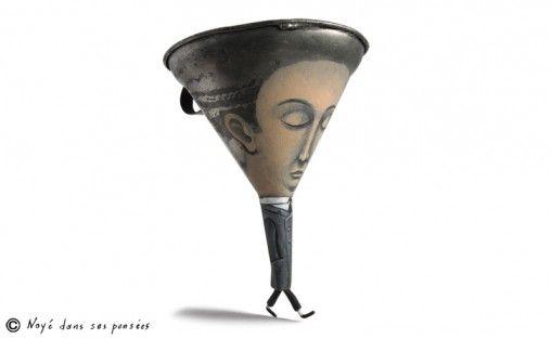 """Gilbert Legrand fala em três linhas sobre a sua série de esculturas: """"A abordagem desde trabalho é fazer uma extensa galeria de personagens híbridos que possibilitem brincar com ambos os fatos, o de saber qual é o objeto inicial em questão como a obra pictórica envolvida na sua metamorfose"""".    Veja mais do trabalho do artista que transforma utensílios comuns ao dia-a-dia das pessoas em peças bem-humoradas em www.gilbert-legrand.com"""