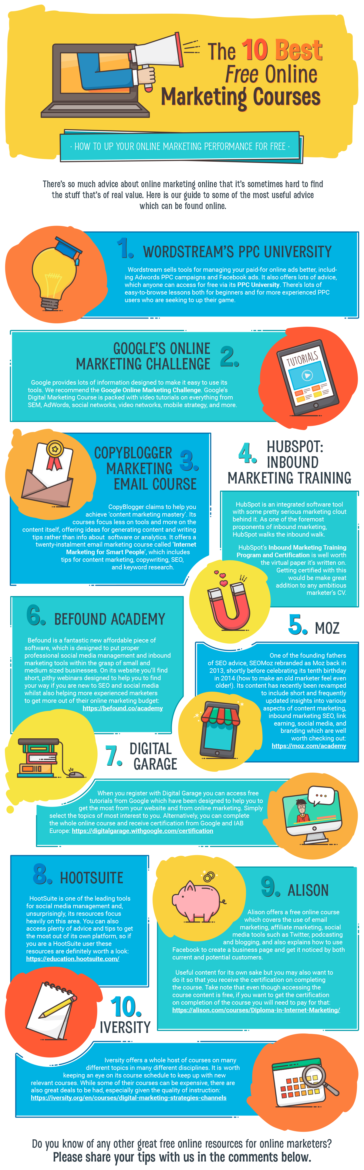 The 10 Best Free Online Marketing Courses #Infographic
