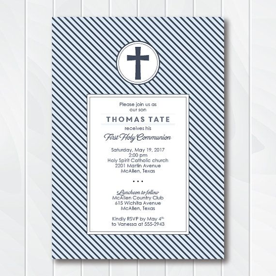 slate stripes first communion invitation boys first holy communion