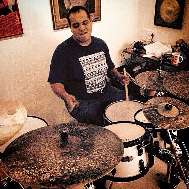 Jai shedding with his new cymbals.
