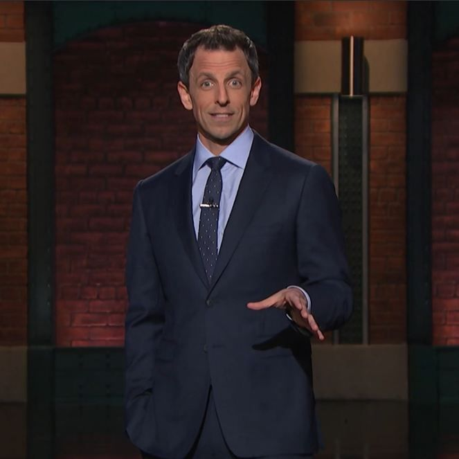 Late Night with Seth Meyers suit look-Midnight blue suit-light