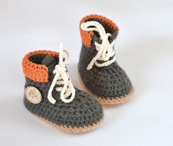 8ed0daf35b480 Baby Timberland Boots CROCHET PATTERN - Construction Boots for baby ...