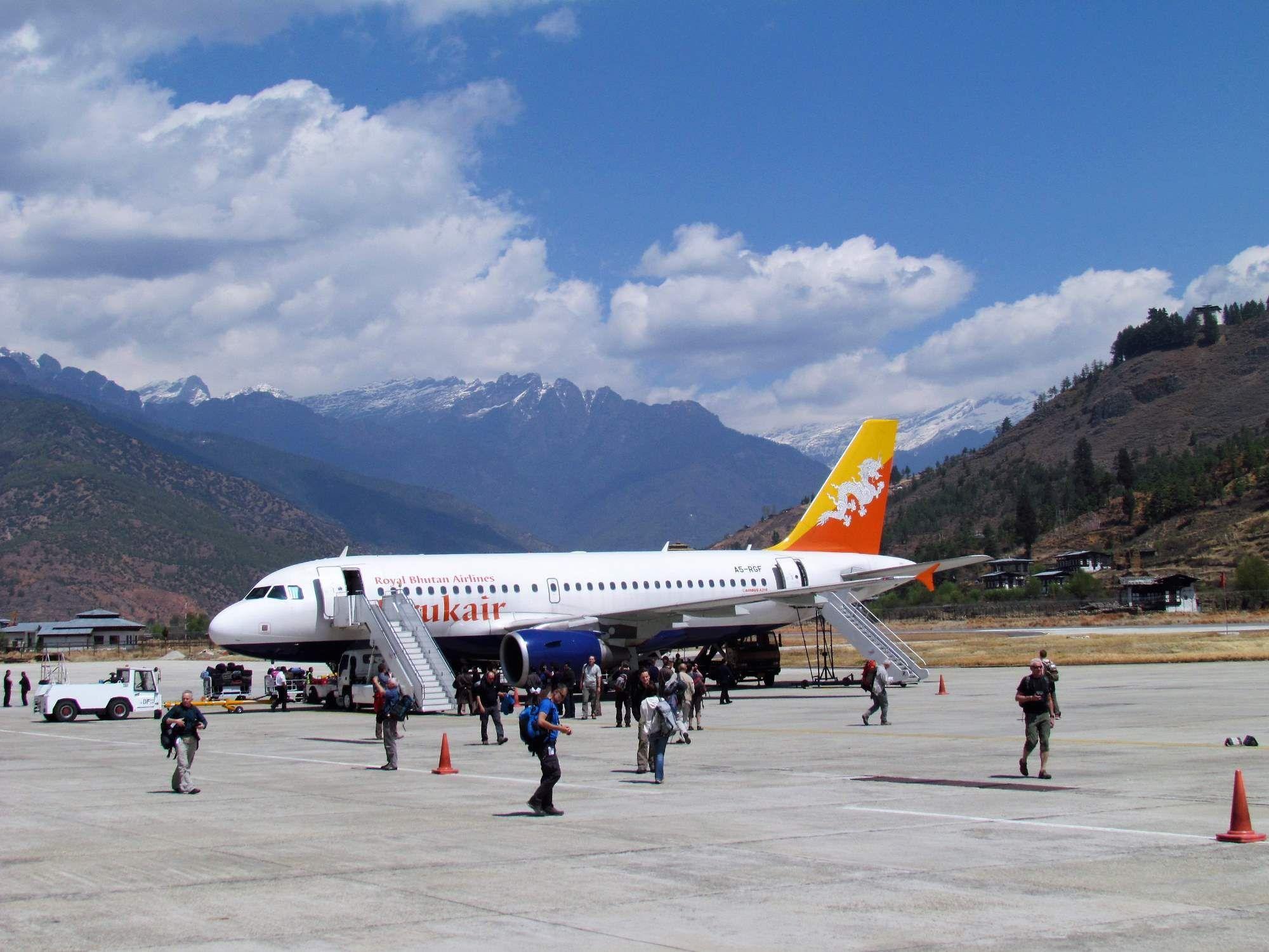 After Landing At Bhutan Airport Bhutan Airport Plane Bhoutan
