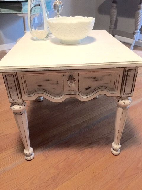 Distressed white end table Vintage End Table White by CDPPaints