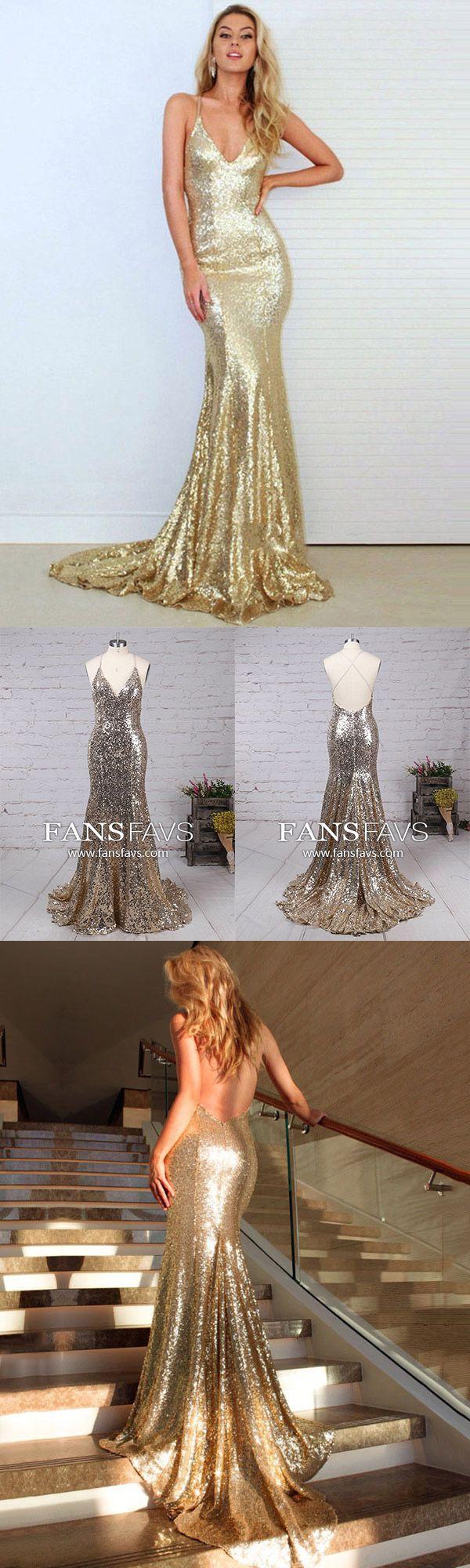 Gold prom dresses sparklylong prom dresses mermaidsexy prom