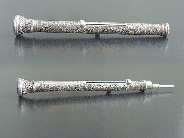 Antique Silver Retractable Pen Pencil A Beautiful
