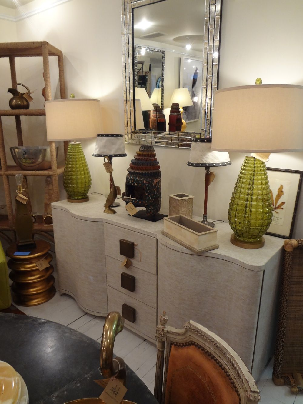Green with envy at Mecox NYC! lamps mirror