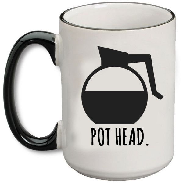 (Coffee) Pot Head Bistro Mug ❤ liked on Polyvore featuring home, kitchen & dining, drinkware, bistro coffee mugs, dishwasher safe coffee mug, coffee mugs, ceramic mugs and ceramic coffee mugs
