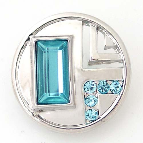 1 PC 18MM Blue Rhinestone Silver Silver Snap Candy Charm ds5091 CC1385