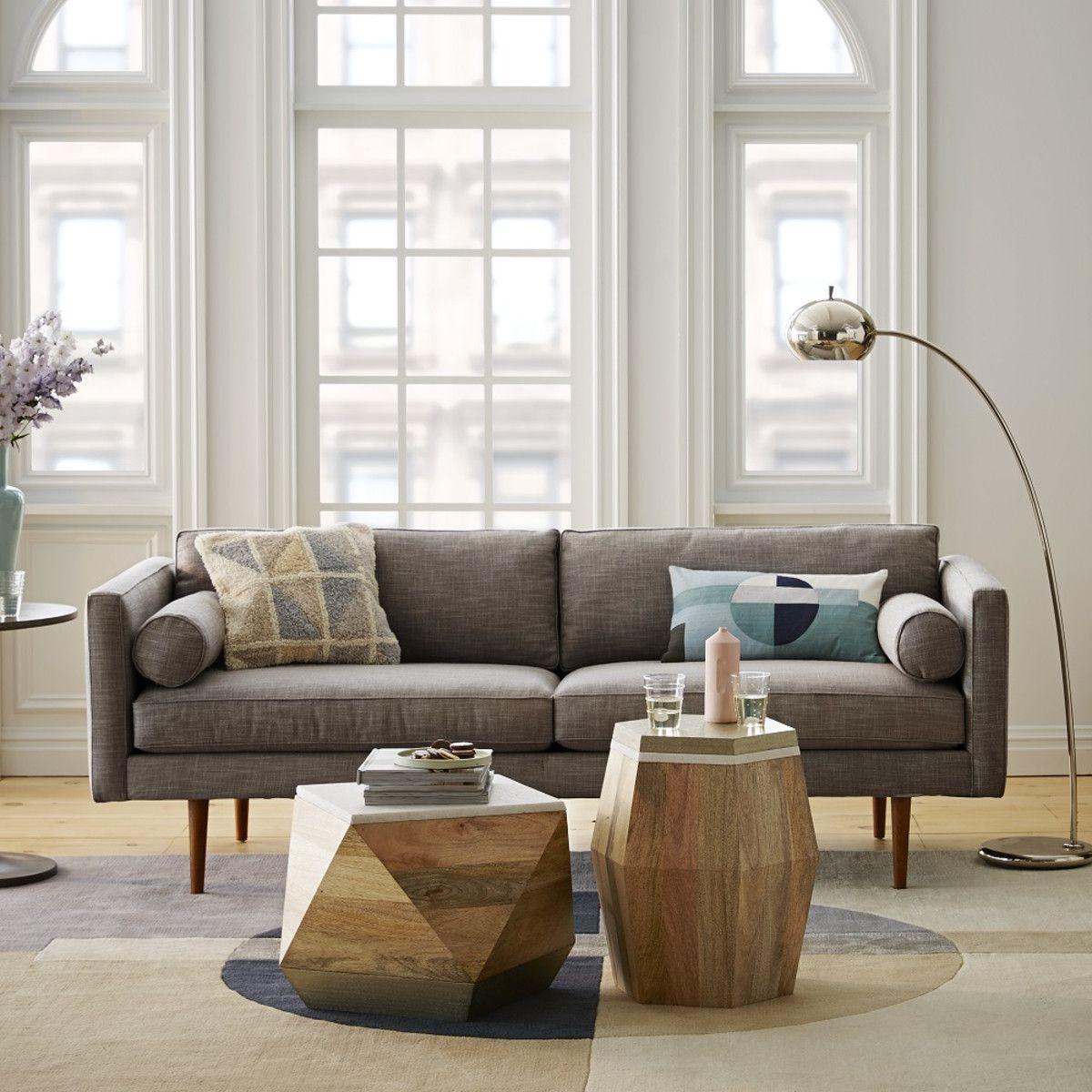 Monroe MidCentury Sofa Shale (203 cm) west elm UK